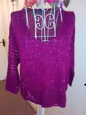 Sequin Crotchet Jumper size 10 in a beautiful Berry colour in Cotton mix by M&S