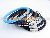 1pcs Unisex Men's Genuine Braided Leather Steel Magnetic clasp Bracelet 8 Colors