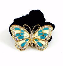 USA Butterfly Ponytail holder Elastic Rhinestone Crystal Hair Tie Rope Blue 05