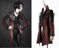 Lace Up Leather Jacket Coat Gothic Punk Lolita Steampunk Stylish PunkRave Red