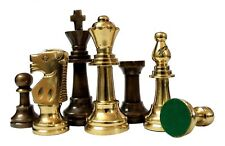 "3""King Height Collector Edition Brass Chessmen Coins Pawn Staunton Figure Figuri"