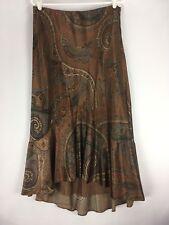 Lauren Ralph Lauren Skirt Size 10 Silk Trumpet High Low Hem Lined Brown Paisley
