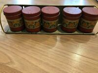 Vintage 5 Small Tin Canisters with Wall Rack Made in Brazil