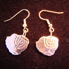 UNIQUE Hand Cut Israeli Menorah Coin Earrings Jewelry 10 Agorot GREAT GIFT
