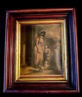"""The Squires Door"" GEORGE MORLAND Framed MEZZOTIN ENGRAVING Print by B. Duterrau"
