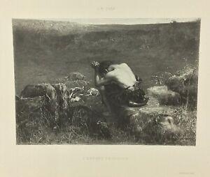 Gravure ancienne à l'eau forte XIXe- J M SWAN «L'ENFANT PRODIGUE» salon 1888