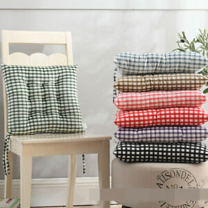 Dining Room Garden Kitchen Gingham Seat Pad Chair Cushions Covers Tie On YHU87