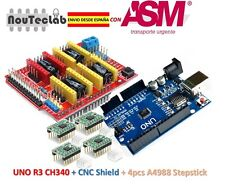 CNC Shield V3 Expansion Board + UNO R3 + 4pcs A4988 Stepper Motor Driver