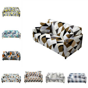 Geometric Print Stretch Sofa Cover Couch Elastic Tight Wrap Slipcover Protector