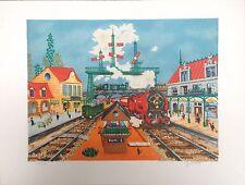Deliege Lithographie signée numérotée art naïf la gare le train voyage Deliège