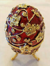 Imperial Russian Style Red Treasure Egg Jeweled Music Trinket Box