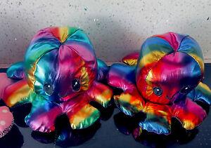 20cm Rainbow Octopus Plush Reversible Fidget Sensory Happy Sad Soft Toy