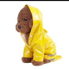 Pet Clothes Raincoat Dog Cat Costumes Reflective Yellow Hood Meduim Size