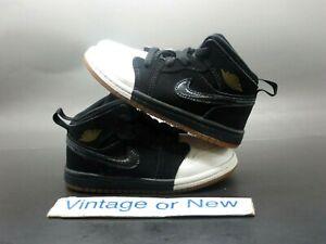 Nike Air Jordan I 1 Mid Black White Dipped Toe 644507-021 BT 2018 Toddler sz 8C