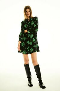 New With Tags Zara Green Floral Print Collared Dress RRP £ 49.99 M XL