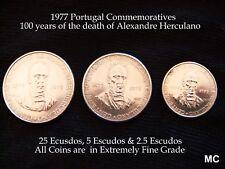 3x 1977 escudos portugueses Alexandre Herculano monedas en Extremadamente Fino Grado