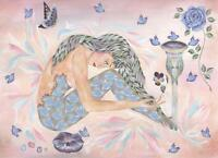 MERMAID GEMSTONES DOLPHINS BLUE BIRDS ROSE PANSY NAUTICAL OCEAN GARDEN PAINTING