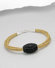 Beautiful STERLING SILVER 925 Gold Silk Cord Crystal Bracelet- Rocks Boutique