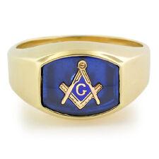 NEW Masonic Ring 10K Solid Gold Master Mason Freemason Masonry Blue Background
