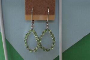 2.32ct Tsavorite Garnet Leverback Hoop Earrings Platinum Plated  ~ Nice
