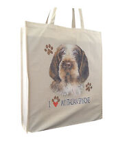 More details for italian spinone reusable cotton shopping bag tote with gusset and long handles