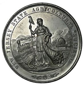 1860-1880 New Jersey Agricultural Society White Metal Award Medal