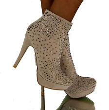 Luxus Stiefeletten BEIGE Sexy High Heels designer Party boots Strass Nieten Gr40