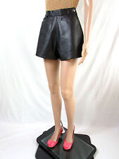 GRIFFINE Designer Vtg Retro Faux Leather High Waist Shorts Hot Pants sz 6/8 AR67