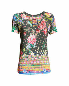 Johnny Was Naomi Favorite Short-Sleeve Tee V NECK TOP T Shirt Floral Small s NEW