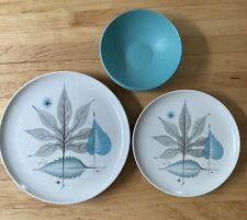 Mid Century Debonaire Melmac Camping Dish 12 Pcs Retro Starburst Leaf Blue Grey