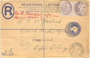 GB 1900 QV 2D R-env uprated QV 1D (2x) FIELD POST OFFICE/I/BRITISH-ARMY.S.AFRICA