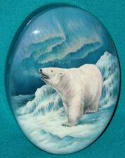 """GORGEOUS """"Polar Bear"""" Russian Hand Painted Fedoskino Oval LACQUER BOX"""