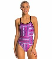 Speedo Women's Star Mania Flyback One Piece Swimsuit Purple Pink Stars Size 30
