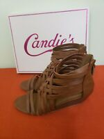 Candies Women's Size 7.5 Strappy Brown Leather Wedge Heels Sandals; New w/ Box.
