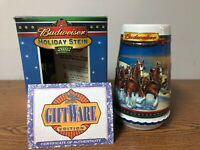 2002 BUDWEISER HOLIDAY STEIN GUIDING THE WAY HOME EDITION NEW IN BOX WITH COA