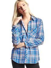 GAP Women's Double-layer Blue Plaid Button Down Shirt Top Blouse Large L NWT $50