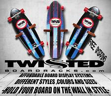 Skateboard Wall Storage Display Racks 3 pc Set Any Angle or Height Black Wood
