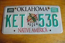 OKLAHOMA  License Plate   KET-536**EXPIRED** NATIVE AMERICA