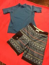 Blue Boys Swimming Trunks And Swim Shirt 8/10/12 Lands End And Cat & Jack