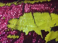 Mermaid Sequins Fabric - By The Yard 2 Way Stretch Shiny Reversible Red/Yellow