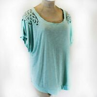 TORRID Plus Size Blue Lace Shoulder Top Blouse Spring Summer 3/3X