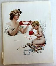 Real Vintage 1909 Harrison Fisher Victorian Woman Valentine's Day Angel Print