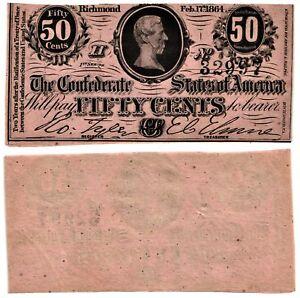 1864 50 CENT CSA The Confederate States of America JEFFERSON DAVIS Note UNC-