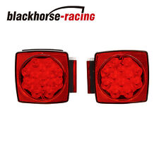 "Led Submersible Square Trailer Tail Lights Under 80"" Brake Boat Stud Mount"