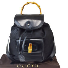 Authentic GUCCI Logos Bamboo Mini Backpack Bag Nylon Leather Black Italy 61EY019