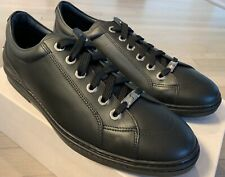 $600 Jimmy Choo Cash Black Leather Sneakers size US 11.5, Made in Italy