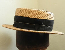 b3723b1d6210e Original Vintage British Gentlemen s Mens Straw Boater Hat Size Small (5135)