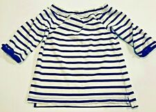 CREWCUTS Girls Blue Striped Top 3/4 Sleeves- Size 6/7- Retails $30