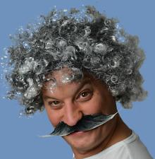Grey Long Handlebar Style Fancy Dress Moustache