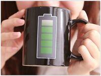 Heat Changing Coffee Mug Cup Cool Sensitive Magic Ceramic Battery Color Hot Tea